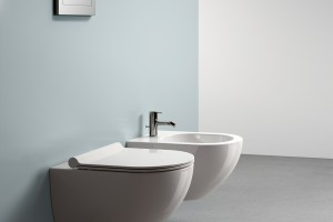 Závěsné wc a bidet Catalano Colori s Newflush, barva šedá matná.