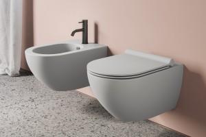 Závěsné wc a bidet Catalano Colori v barvě matný cement.