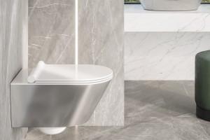 Závěsné wc Gold&Silver s Newflush, barva stříbrná.