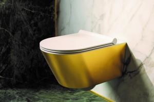 Závěsné wc Gold&Silver s Newflush, barva zlatá-bílá.