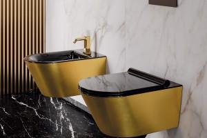 Závěsné wc a bidet Catalano Gold&silver s Newflush, barva zlatá-černá.