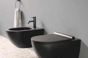 Závěsné wc a bidet Catalano Colori s Newflush, barva černá matná.