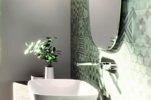 Umyvadlo Catalano Green Lux na desce s Cataglaze+ Silver Titanium.