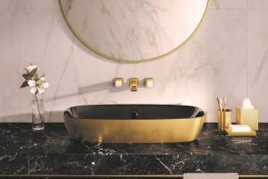 Umyvadlo Catalano Gold&Silver na desce, barva zlatá - černá.