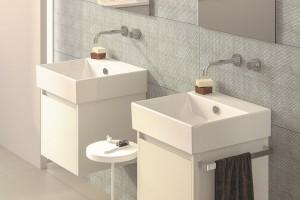 Dvě umyvadla Catalano Premium instalována na nábytek.
