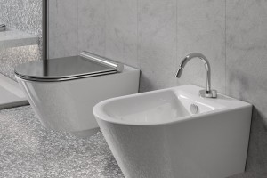 Luxusní WC a bidet Catalano New Zero závěsný se stříbrným sedátkem.