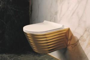 Luxusní závěsné wc Wc Gold&Silver Classy s Newflush, zlatá barva.